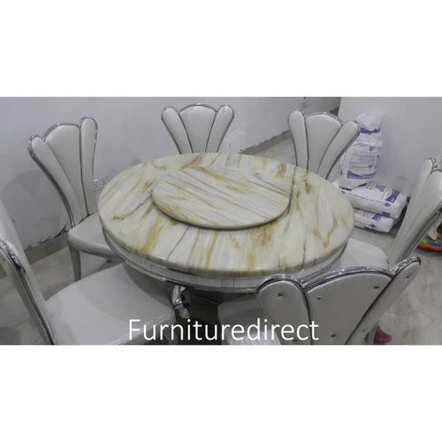 Marble Round Reinz Dining Set Furniture + 6 Dinning Chairs
