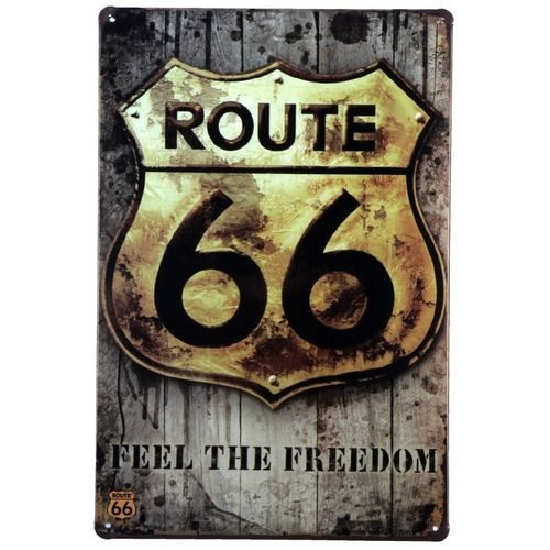 Vintage Metal Signs Retro Poster ROUTE 66 Decor Sticker Decorative Metal Wall Craft Vintage Plaque Home Metal Wall Decor 20*30Cm