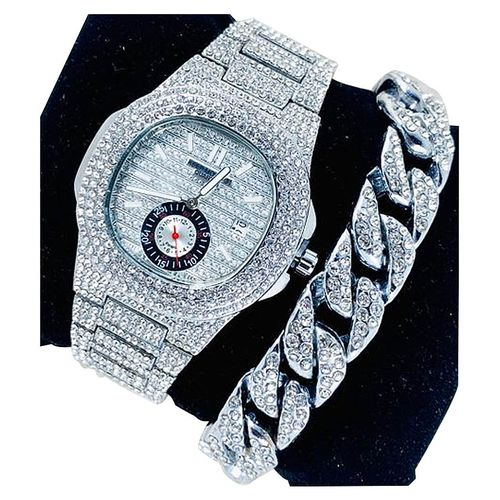 """DS Stone Iced Men""""s Wristwatch Witch Hand Chain - SIlver"""