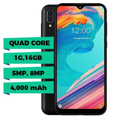 "P10m 6.088"" Waterdrop Display, (1GB, 16GB ROM) 5MP Selfie/8MP Rear, Android 8.1 (Oreo) Go, Dual SIM, 4000mAh - Black"