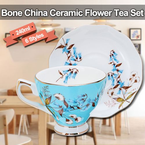 2Pcs Bone China English Flower Tea Cup Coffee Mug Porcelain Saucer Ceramic Set