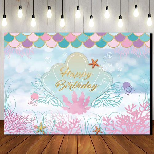 The Sea Little Mermaid Backdrop Purple Pink Mermaid Scales Teal Shell Ocean Party Background Girls Birthday Decorations