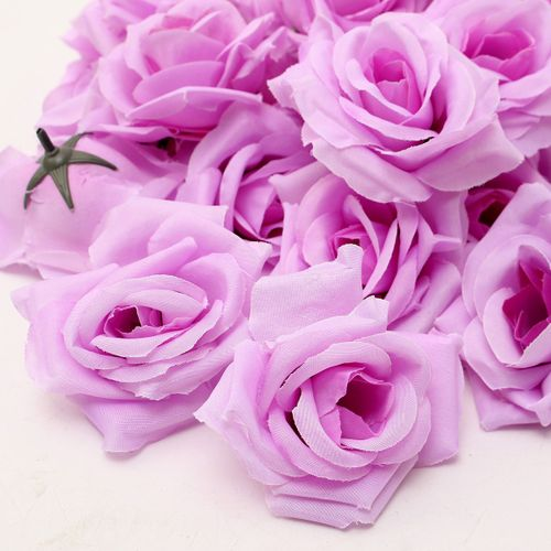 50Pcs Artificial Silk Head Flowers Rose Flower Wedding For Hair Band/Pin/Brooch