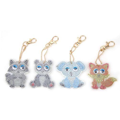 (Gold Certified Qianmei)Cartoon Animal Key Chain DIY Decoration Resin Drill Diamond Painting Keyring Gift Decor
