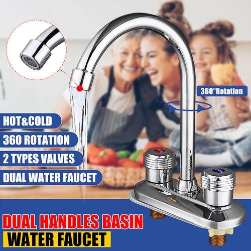 360? Swivel Spout Kitchen Tap Dual Handle Water Faucet Sink Basin Mixer Bathroom