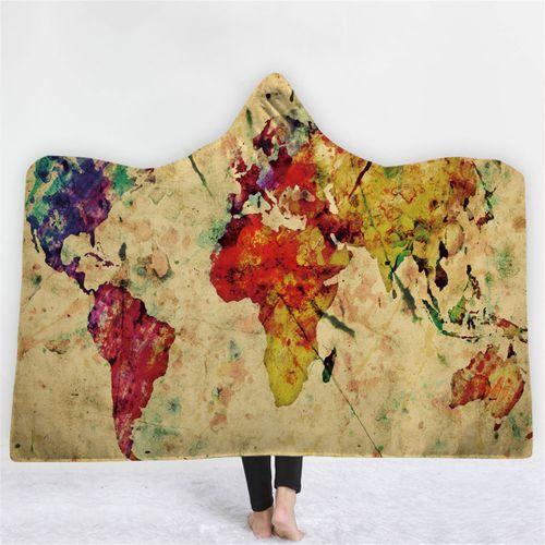 150*200CM 3D Digital World Map Adult Hooded Blanket Wearable Durable Warm Throw