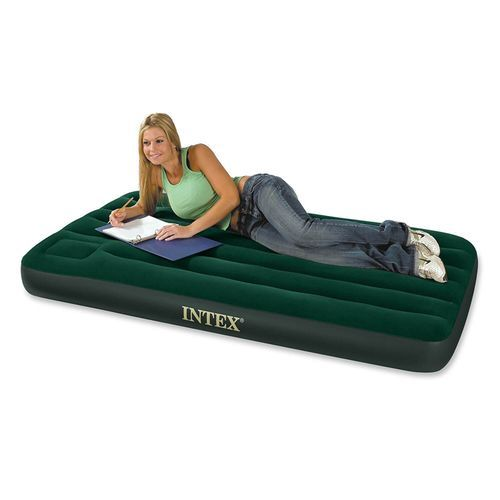 Inflatable Downy Air Mattress - Green, Twin Size-