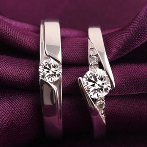 2Pieces Wedding Engagement Rings Adjustable