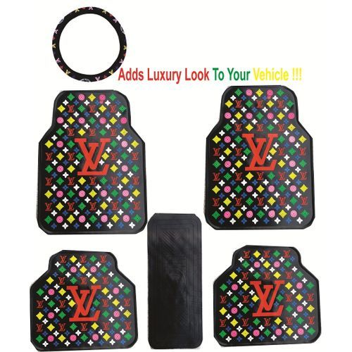 Luxury All Car Foot Mat With Steering Cover. Black