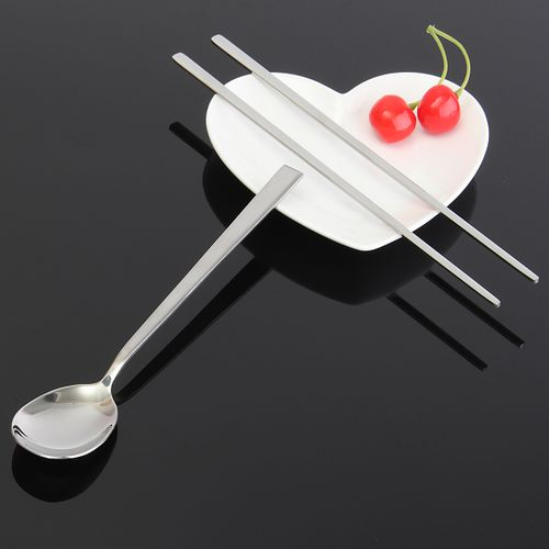 Stainless Steel Chopsticks Suit Ladles Travel Chopsticks Tableware Spoon