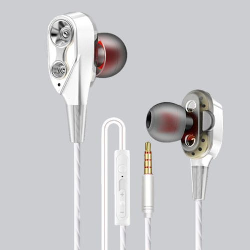 Dual-Dynamic Quad-core 3.5mm Noise Isolation Sport In-ear Silver