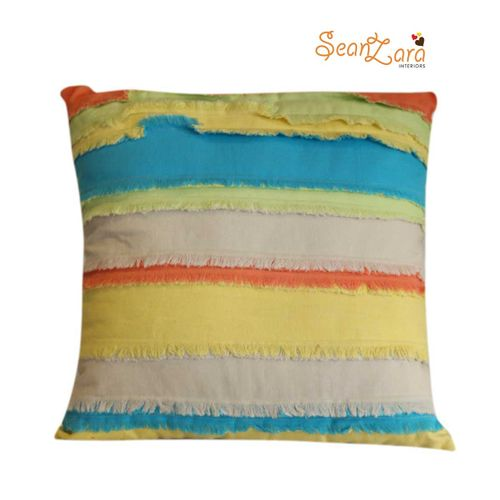 Gypsy Style Colourful Patch Work With Fringes Throw Pillow