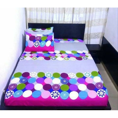 Circled Designed Duvet Bedsheet With Pillow Cases