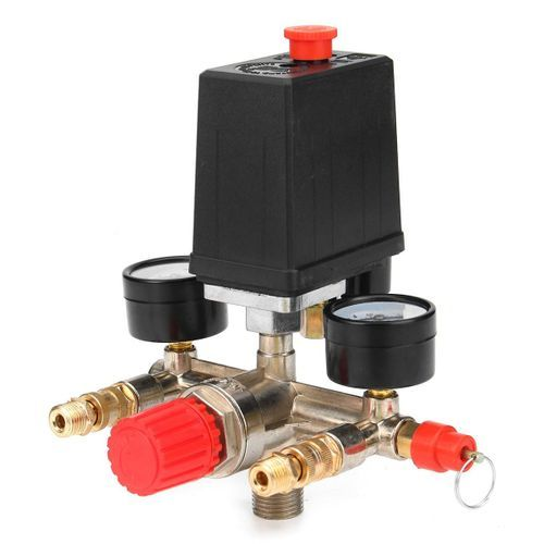 90-120PSI Air Compressor Pressure Switch Control Valve Manifold Regulator Gauges.