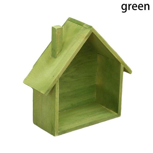 Creative Wood Storage Rack Wooden House Type Living Room Decoration Wall Hook
