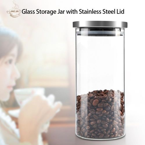 1000ml Glass Storage Jar Coffee Beans Kitchen Food Container Stainless Steel Lid