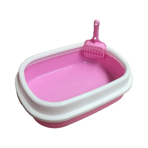 Pet Litter Low-Side Semi-Closed Box Low Side Protection-Pink-