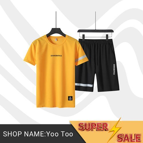 2 In 1 Men's Short Sleeve Shorts Set - Yellow