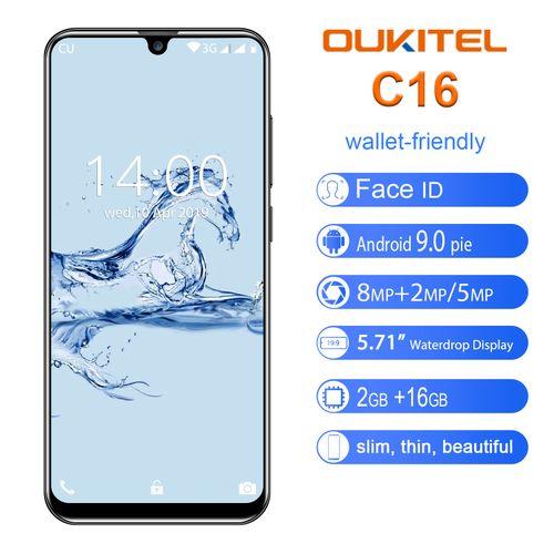 C16 5.71-Inch (2GB, 16GB ROM) Android 9.0 (8MP + 2MP) + 5MP 3G Smartphone EU - Black