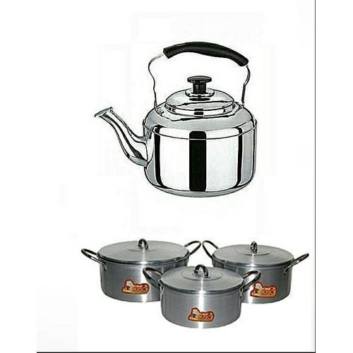 Cooking Pot Set 3 Pieces And Whistling Kettle (3)Litres