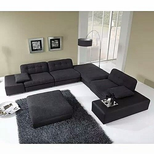 NEW CORNER UNIT SEATER SOFA- Black with FREE OTTOMAN'(Delivery To Only Lagos Costomers).