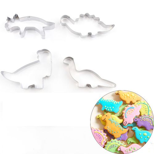 Lightning 4PCS Stainless Steel Dinosaur Cookies Cutter Biscuit Pastry Cake Fondant Mould-Silver