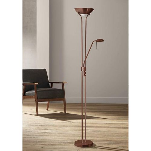 Home Father & Child Uplighter Floor Lamp - Brass