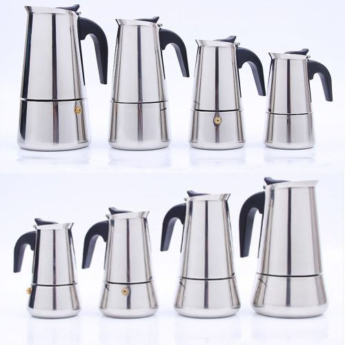 Stainless Steel Stovetop Espresso Maker Moka Pot 2 4 6 9Cup