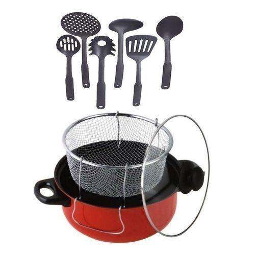 Manual Deep Fryer Non-Stick + 6 Set Of Non-Stick Spoon