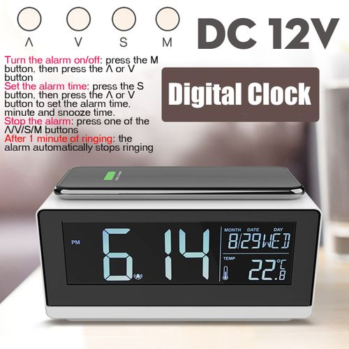 Modern Design Digital Led Alarm Clock With Wireless Charger