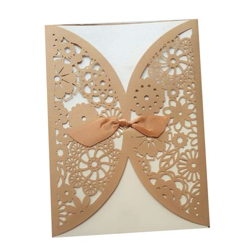 100 Pieces Of Invitation Card - White & Brown