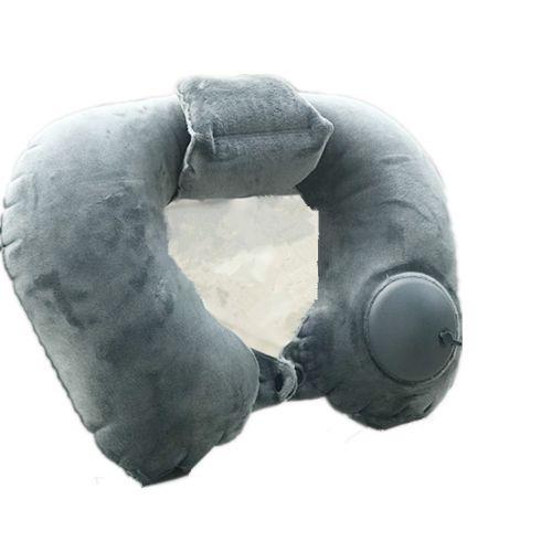 Hand Pressure Inflatable Crystal Velvet Neck Pillow-Dark Green