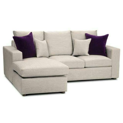 PAWA FURNITURE 5 Seater L Shape Fabric Sofa (OFF WHITE) With 4 Free Throw Pillows + Free Ottoman (Delivery To Lagos Only)