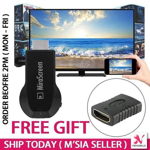 MiraScreen Phone Mirror TV Screen Like Mira Cast MiraCast ChromeCast (Black) HSL-A