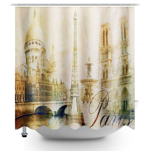 Retro Paris Bathroom Shower Curtain Eiffel Tower Waterproof 180x180cm