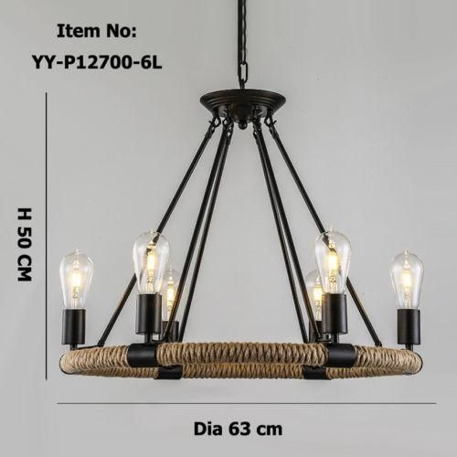 Industrial Retro Style Rope Chandelier Ceiling Lights Fixtures Lighting Lamp E27
