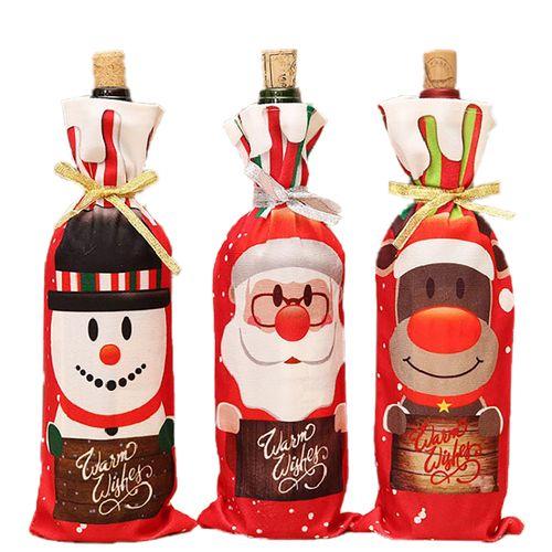 3 Pcs Christmas Wine Bottle Bags Bottle Cover Accessories