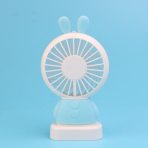 Home Office Handheld Rabbit Fan USB Charging With Desk Base For Student Blue