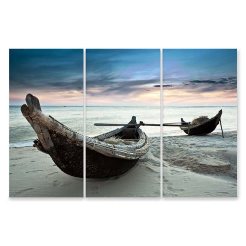 Seascape Poster 120X80cm Two Boats Sand Beach Wall Picture