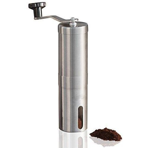 Manual Coffee Grinder, Conical Burr Mill, Brushed Stainless Steel