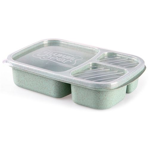Lunch Box Wheat Straw Microwave Tableware Bento Box Quality Health Natural 3 Grid Student Portable Food Storage Box Green/3/1