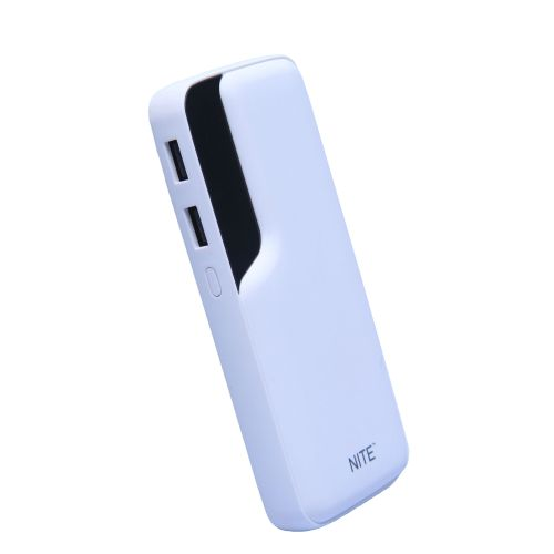 12800mAh Power Bank Dual Port Digital Display - 5GN - White