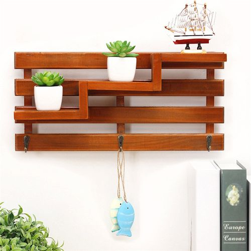 Wall Wooden Rack Wood Floating Toys Storage Shelf Holder