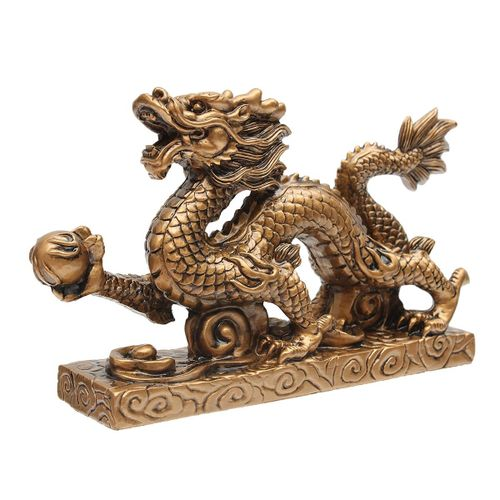 Copper Chinese Feng Shui Dragon Figurine Statue For Luck Success Lucky Sculpture