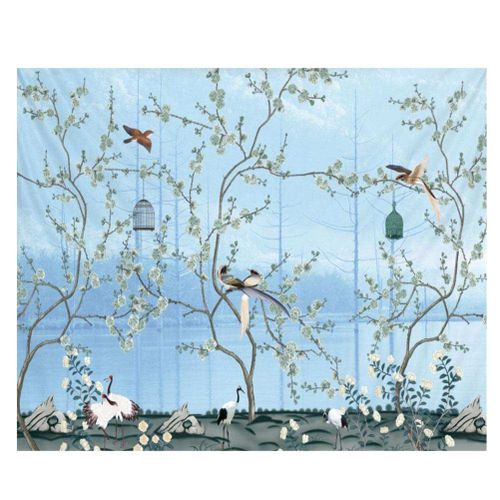 Blue Flowers And Birds Wall Hanging Bedding Tapestry
