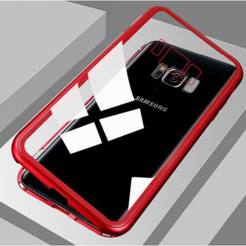 Metal Magnetic Case For Samsung Galaxy S8 S9 S10 Plus S10E S7 Edge Note 8 9 M20 M10 A30 A50 A7 A8 A9 J4 J6 Plus 2018(Clear Red) BDZ