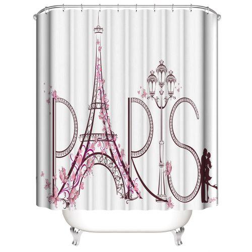 The Eiffel Tower Non Slip Toilet Cover Rugs Mat Bath Bathroom Shower Curtain