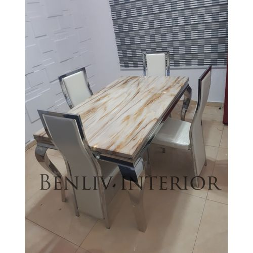 Marble Dining Table Set With Chairs (Lagos Only)