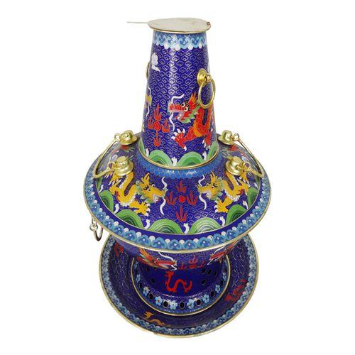 Cloisonne Charcoal Pot (Blue Dragon)