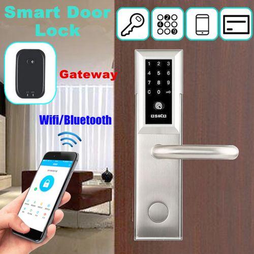 Smart Key/Password/Card/App Digital WiFi Bluetooth CIpher Door Lock W/ A Gateway